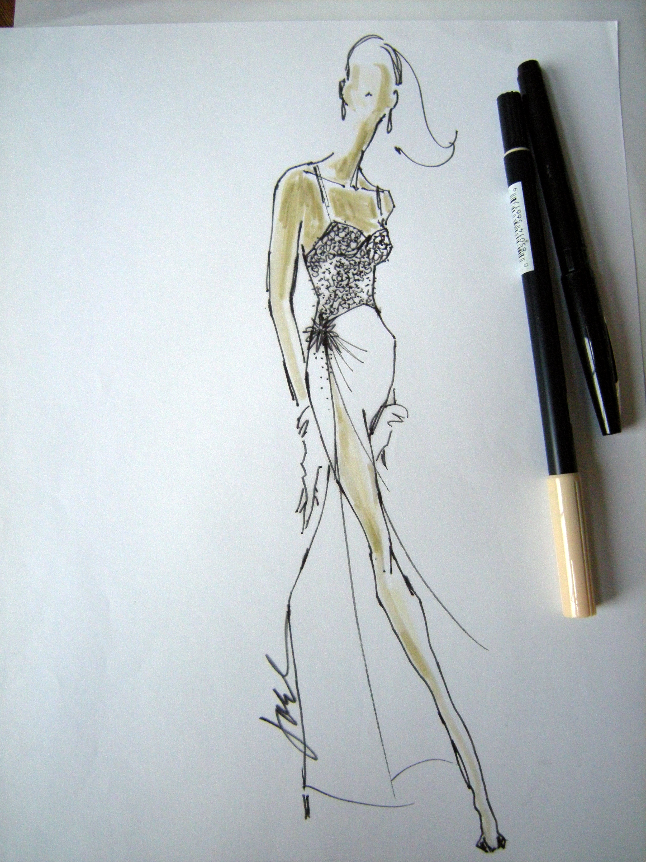 Fashion Drawing Rustic Chic